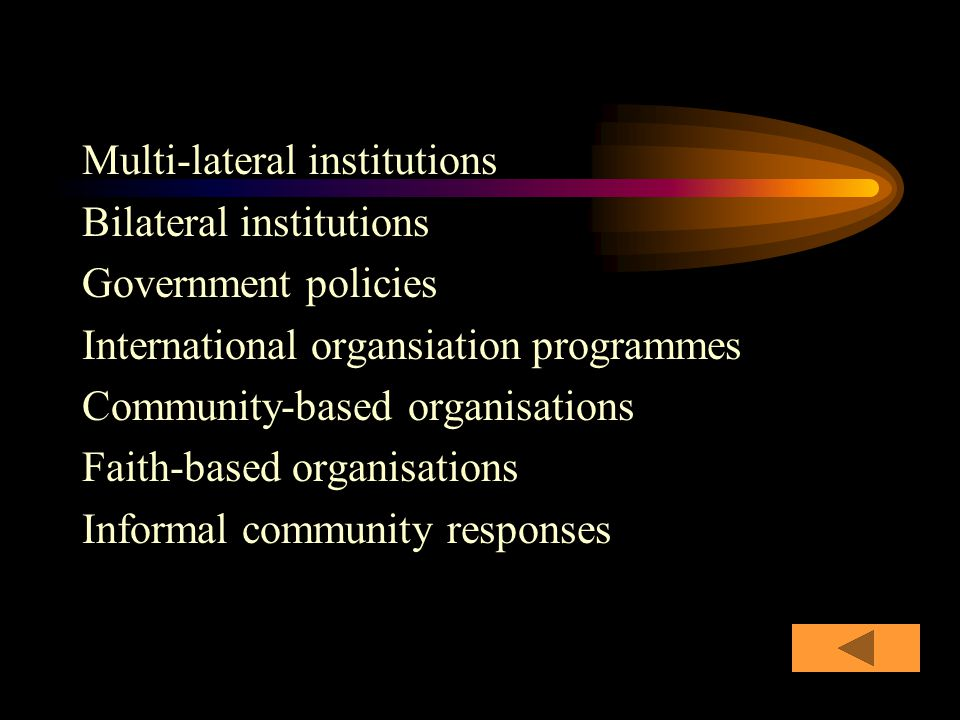 Multi-lateral institutions Bilateral institutions Government policies International organsiation programmes Community-based organisations Faith-based organisations Informal community responses