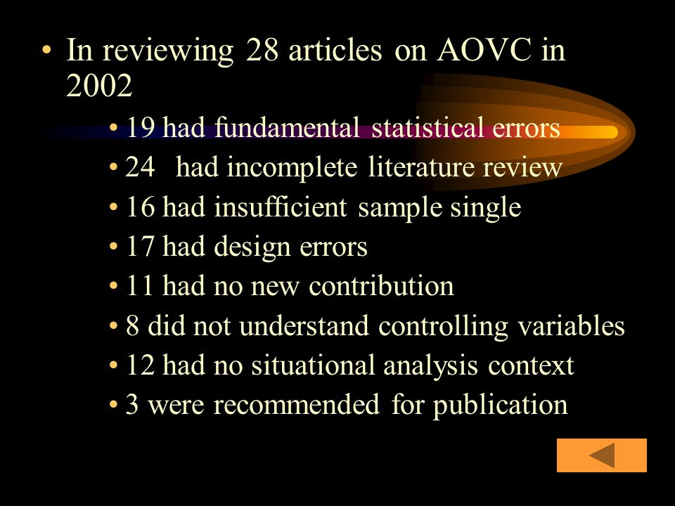 In reviewing 28 articles on AOVC in 2002 19 had fundamental statistical errors 24 had incomplete literature review 16 had insufficient sample single 17 had design errors 11 had no new contribution 8 did not understand controlling variables 12 had no situational analysis context 3 were recommended for publication