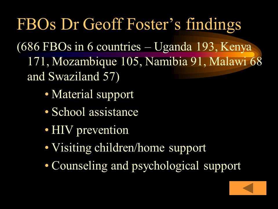 FBOs Dr Geoff Foster's findings (686 FBOs in 6 countries – Uganda 193, Kenya 171, Mozambique 105, Namibia 91, Malawi 68 and Swaziland 57) Material support School assistance HIV prevention Visiting children/home support Counseling and psychological support