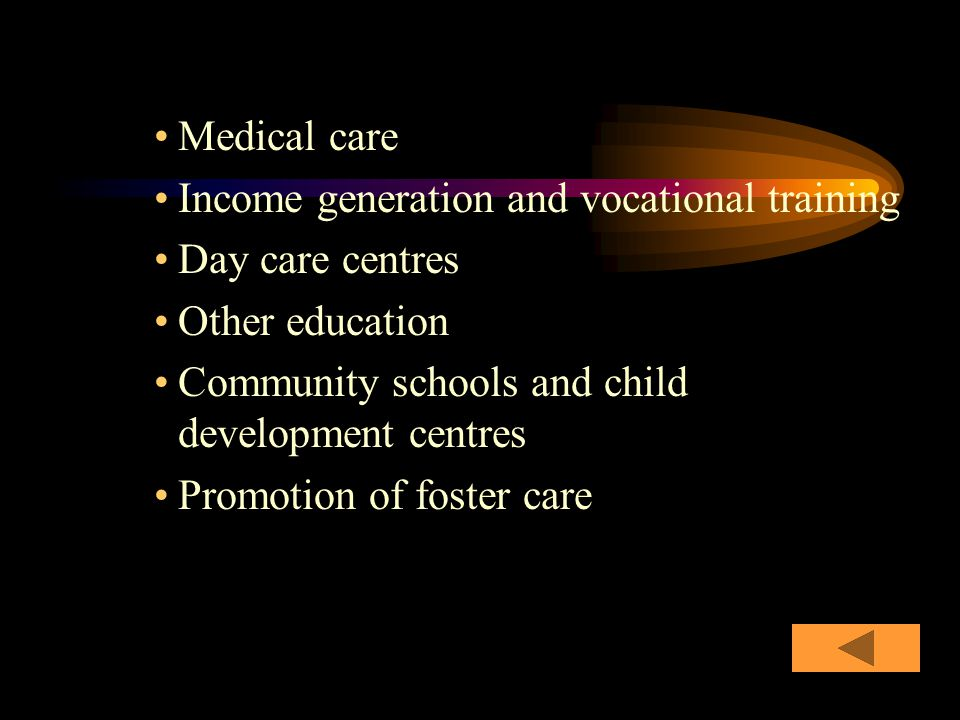 Medical care Income generation and vocational training Day care centres Other education Community schools and child development centres Promotion of foster care