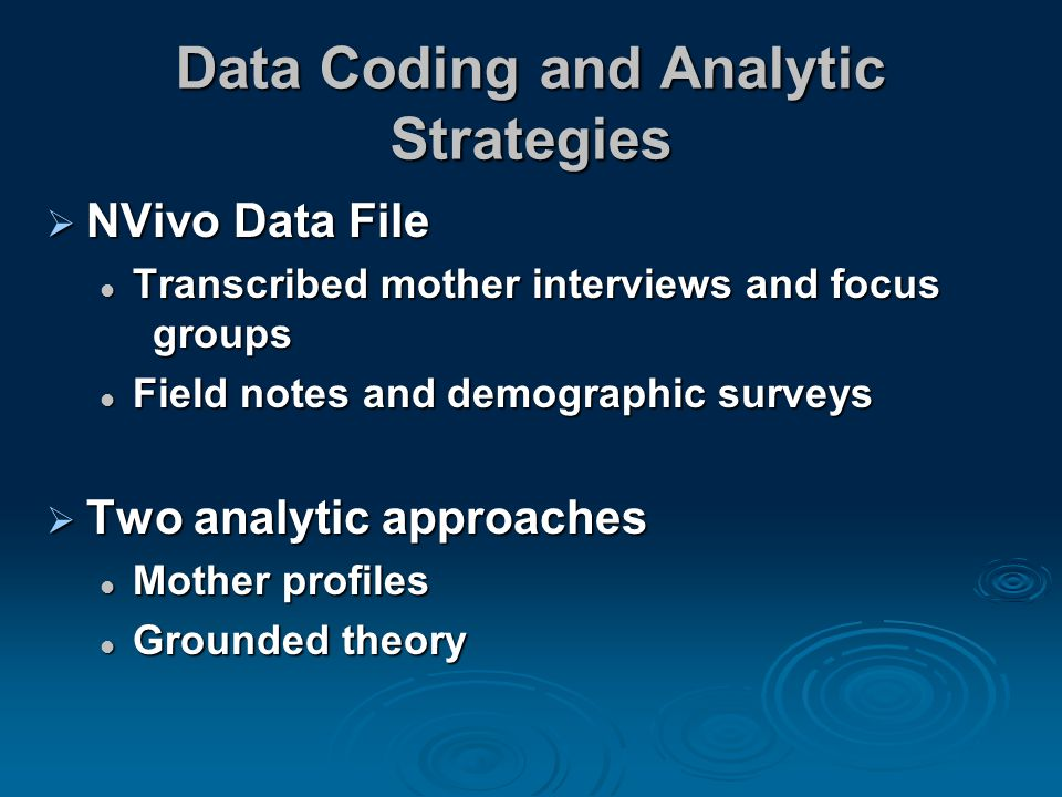 Data Coding and Analytic Strategies  NVivo Data File Transcribed mother interviews and focus groups Transcribed mother interviews and focus groups Field notes and demographic surveys Field notes and demographic surveys  Two analytic approaches Mother profiles Mother profiles Grounded theory Grounded theory