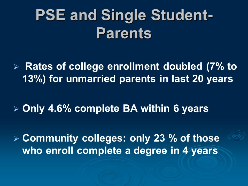 PSE and Single Student- Parents  Rates of college enrollment doubled (7% to 13%) for unmarried parents in last 20 years  Only 4.6% complete BA within 6 years  Community colleges: only 23 % of those who enroll complete a degree in 4 years
