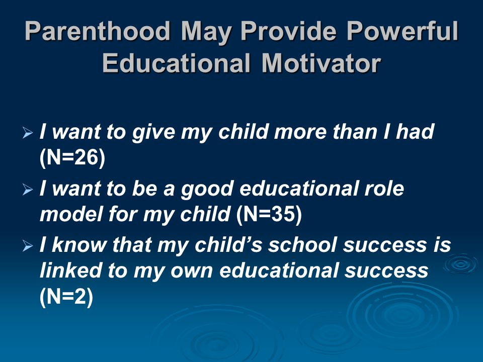 Parenthood May Provide Powerful Educational Motivator  I want to give my child more than I had (N=26)  I want to be a good educational role model for my child (N=35)  I know that my child's school success is linked to my own educational success (N=2)