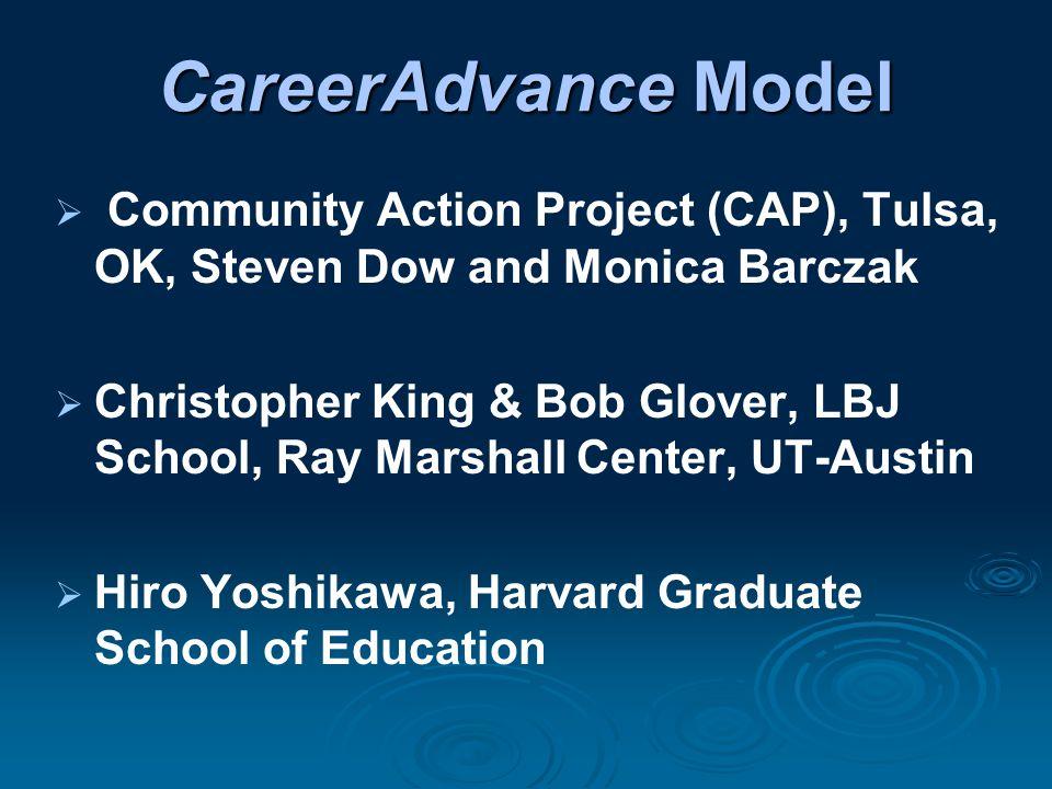 CareerAdvance Model  Community Action Project (CAP), Tulsa, OK, Steven Dow and Monica Barczak  Christopher King & Bob Glover, LBJ School, Ray Marshall Center, UT-Austin  Hiro Yoshikawa, Harvard Graduate School of Education