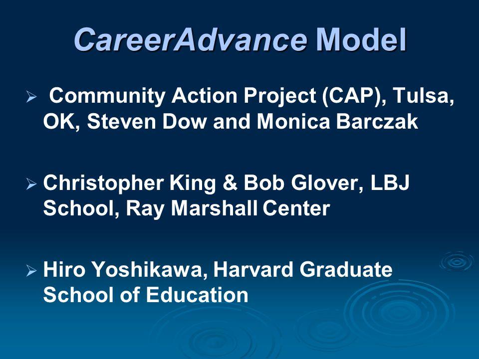 CareerAdvance Model  Community Action Project (CAP), Tulsa, OK, Steven Dow and Monica Barczak  Christopher King & Bob Glover, LBJ School, Ray Marshall Center  Hiro Yoshikawa, Harvard Graduate School of Education