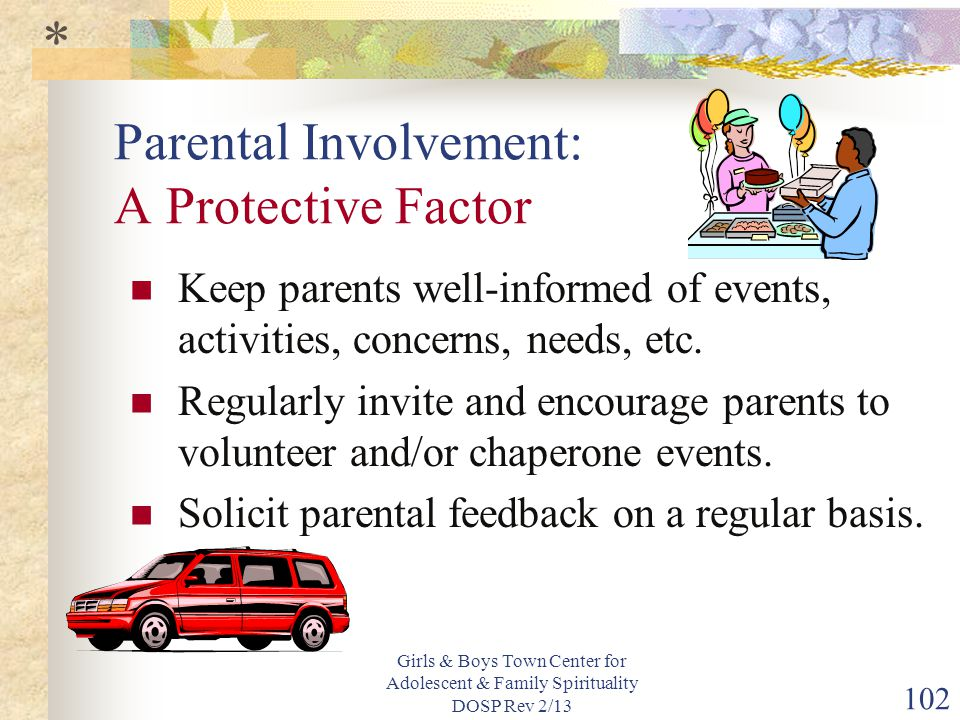 Girls & Boys Town Center for Adolescent & Family Spirituality DOSP Rev 2/13 102 Parental Involvement: A Protective Factor Keep parents well-informed of events, activities, concerns, needs, etc.