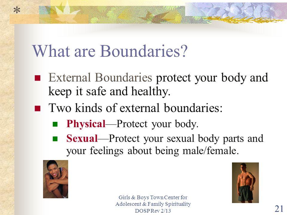 Girls & Boys Town Center for Adolescent & Family Spirituality DOSP Rev 2/13 21 What are Boundaries.
