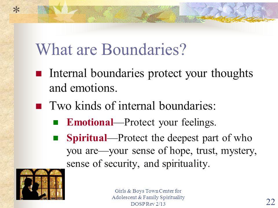 Girls & Boys Town Center for Adolescent & Family Spirituality DOSP Rev 2/13 22 What are Boundaries.