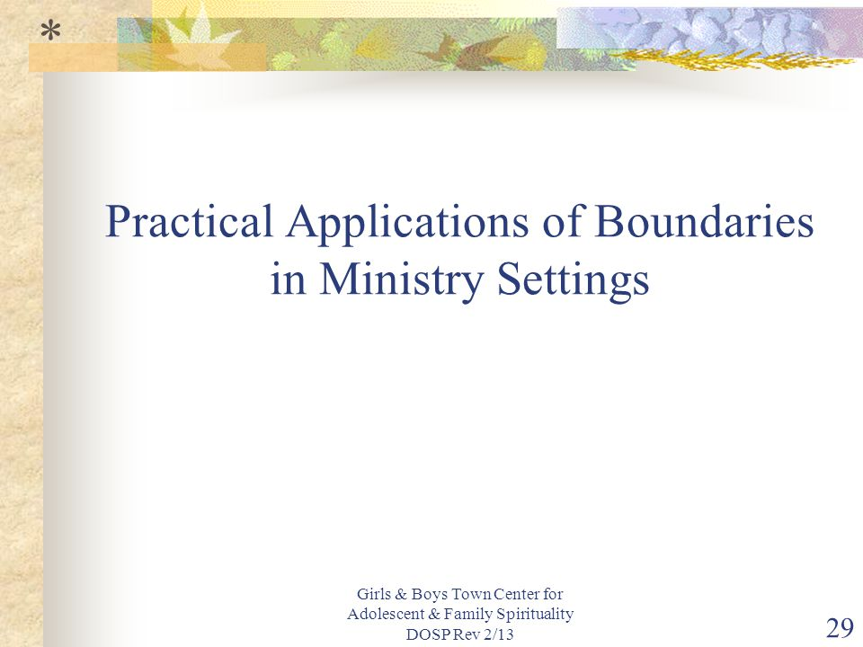 Girls & Boys Town Center for Adolescent & Family Spirituality DOSP Rev 2/13 29 Practical Applications of Boundaries in Ministry Settings *