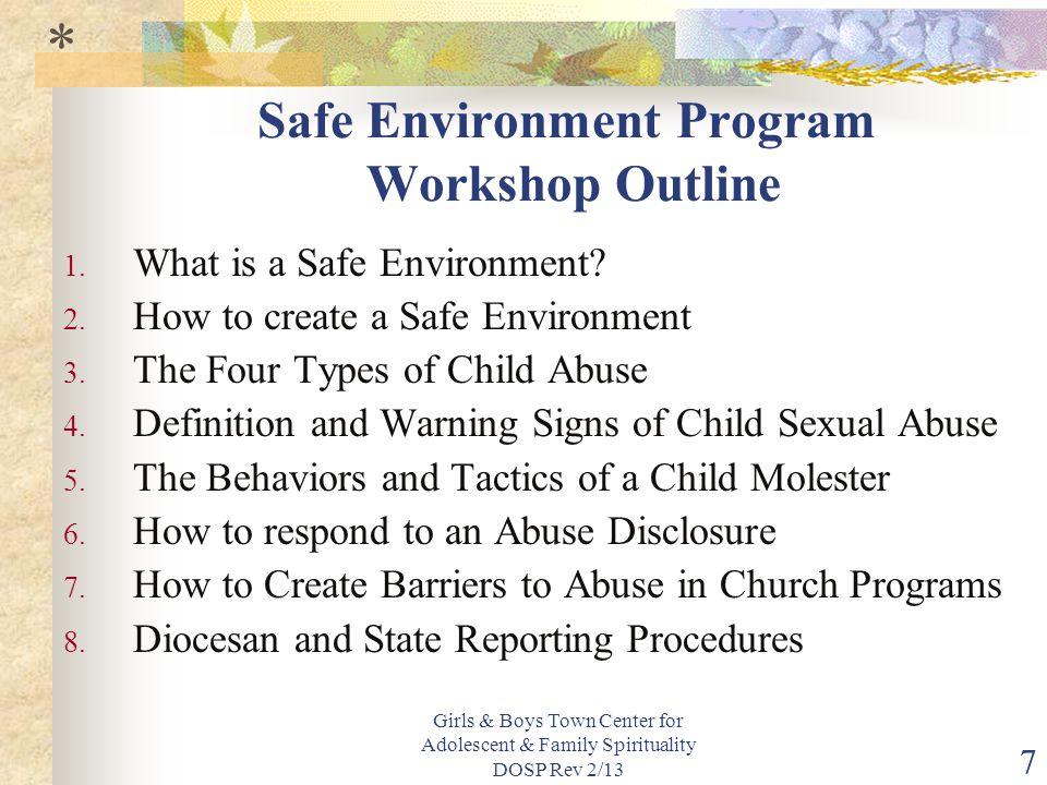 Girls & Boys Town Center for Adolescent & Family Spirituality DOSP Rev 2/13 7 Safe Environment Program Workshop Outline 1.