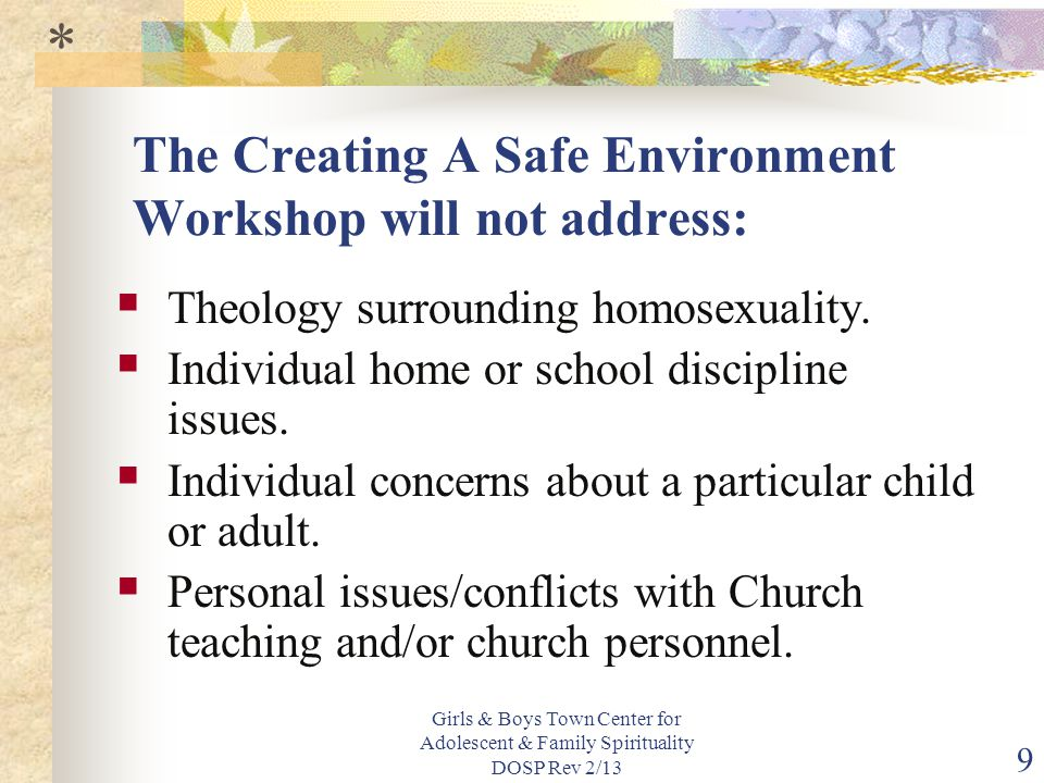 Girls & Boys Town Center for Adolescent & Family Spirituality DOSP Rev 2/13 9 The Creating A Safe Environment Workshop will not address:  Theology surrounding homosexuality.