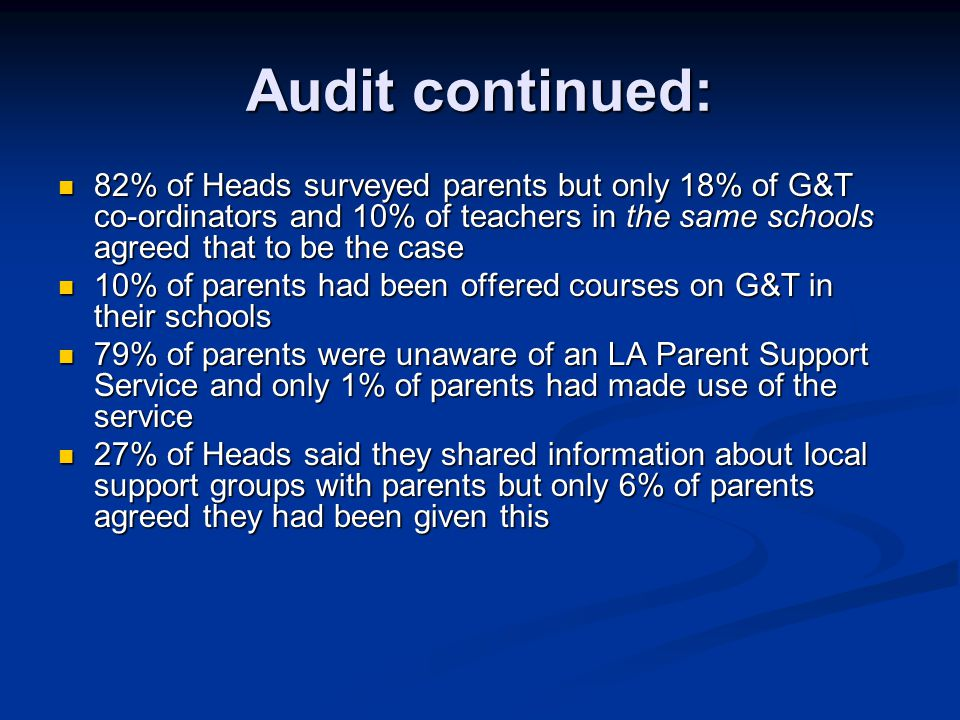 Audit continued: 82% of Heads surveyed parents but only 18% of G&T co-ordinators and 10% of teachers in the same schools agreed that to be the case 82