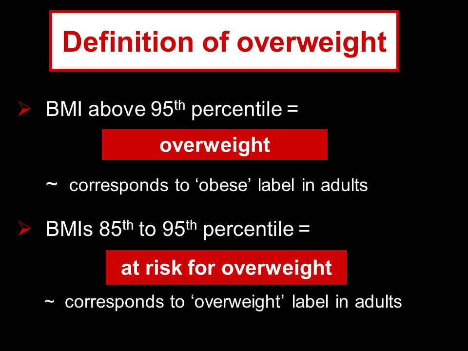 Definition of overweight  BMI above 95 th percentile = ~ corresponds to 'obese' label in adults  BMIs 85 th to 95 th percentile = ~ corresponds to '