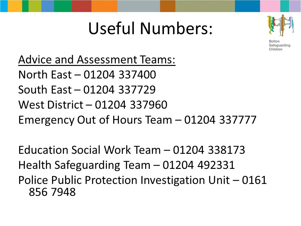 Useful Numbers: Advice and Assessment Teams: North East – 01204 337400 South East – 01204 337729 West District – 01204 337960 Emergency Out of Hours T