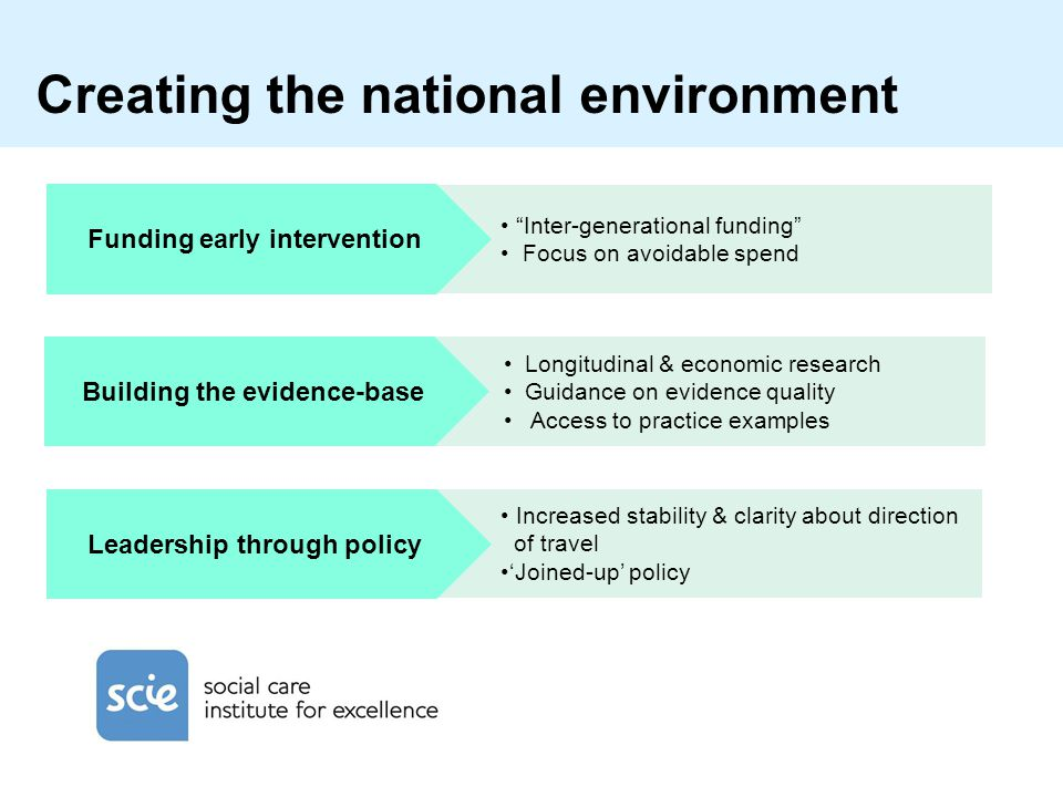 Increased stability & clarity about direction of travel 'Joined-up' policy Longitudinal & economic research Guidance on evidence quality Access to practice examples Inter-generational funding Focus on avoidable spend Funding early intervention Leadership through policy Building the evidence-base Creating the national environment