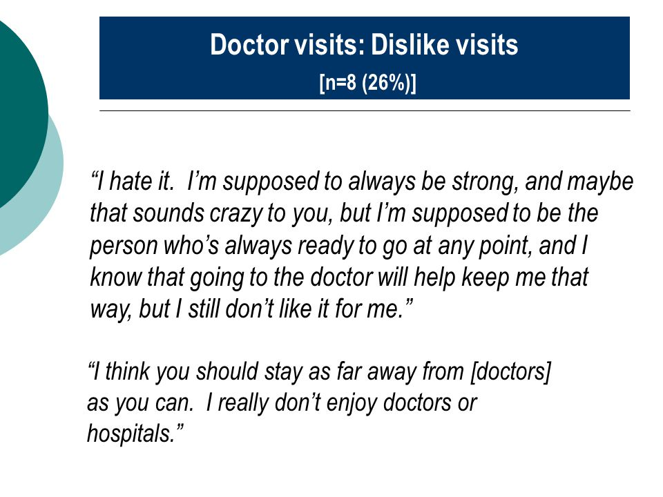 """I think you should stay as far away from [doctors] as you can. I really don't enjoy doctors or hospitals."" Doctor visits: Dislike visits [n=8 (26%)]"