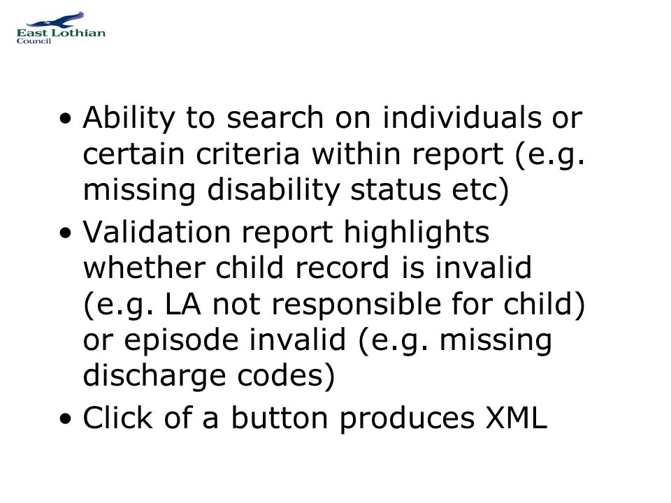 Example of validation report