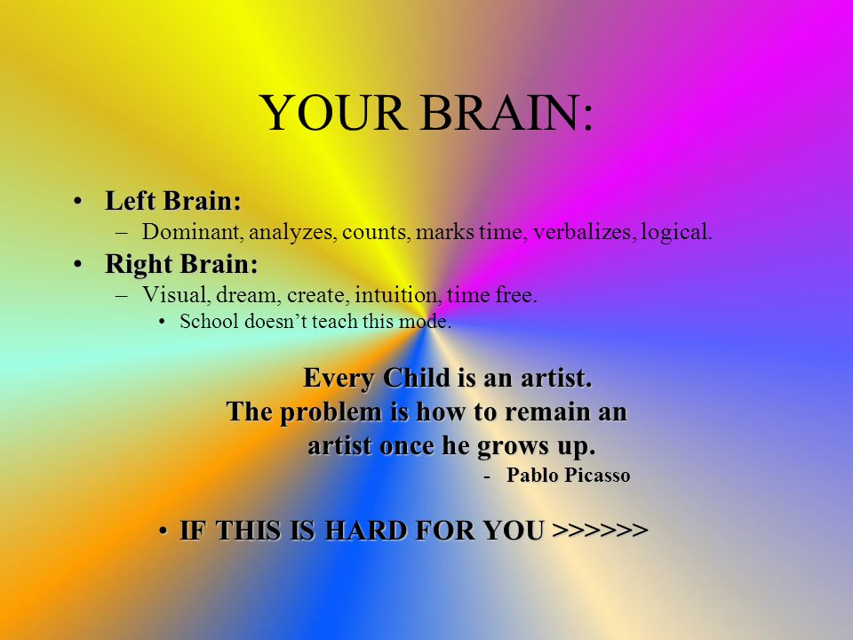 YOUR BRAIN: Left Brain:Left Brain: –Dominant, analyzes, counts, marks time, verbalizes, logical.