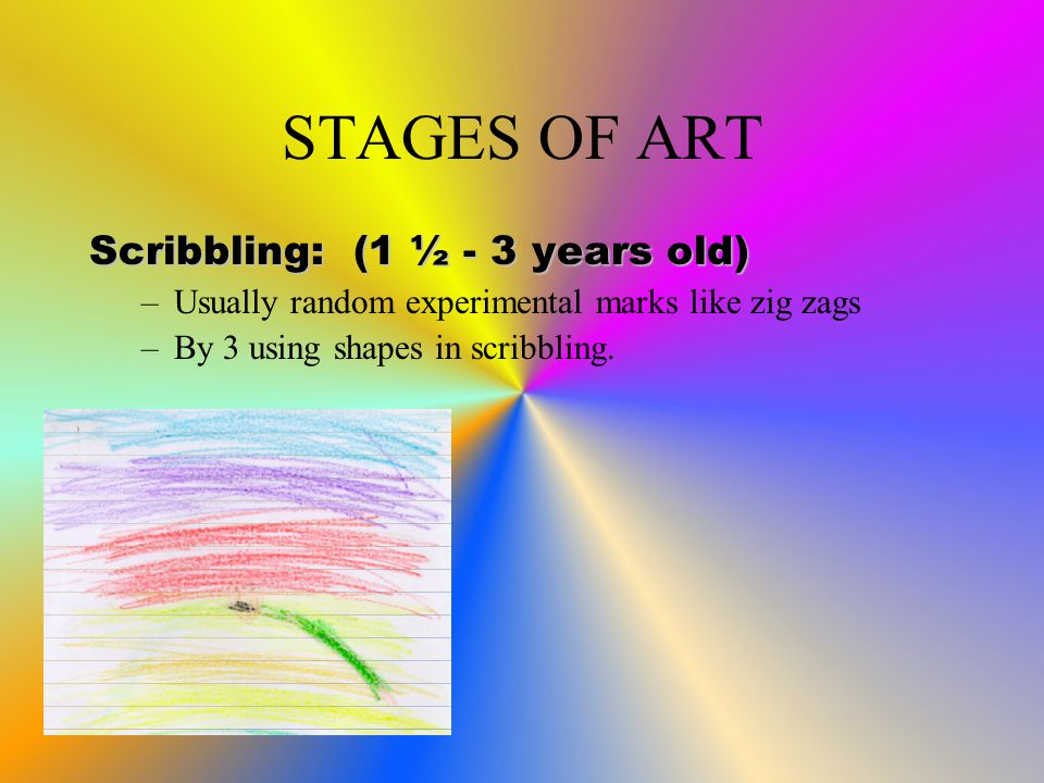 STAGES OF ART Scribbling: (1 ½ - 3 years old) –Usually random experimental marks like zig zags –By 3 using shapes in scribbling.