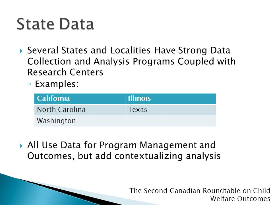 The Second Canadian Roundtable on Child Welfare Outcomes  Several States and Localities Have Strong Data Collection and Analysis Programs Coupled with Research Centers ◦ Examples:  All Use Data for Program Management and Outcomes, but add contextualizing analysis CaliforniaIllinois North CarolinaTexas Washington
