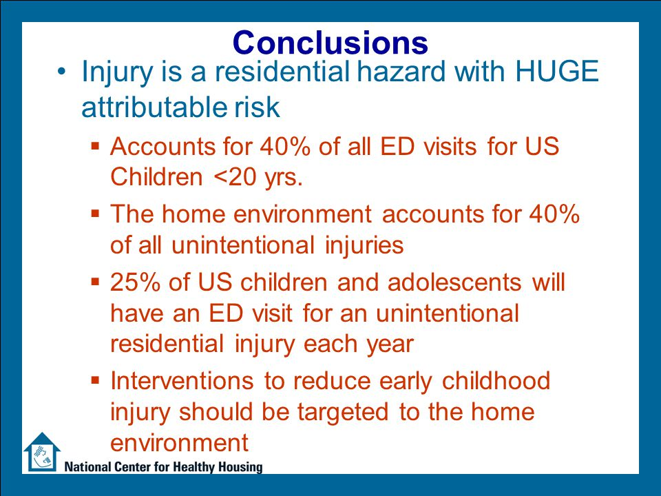 Conclusions Injury is a residential hazard with HUGE attributable risk  Accounts for 40% of all ED visits for US Children <20 yrs.  The home environ