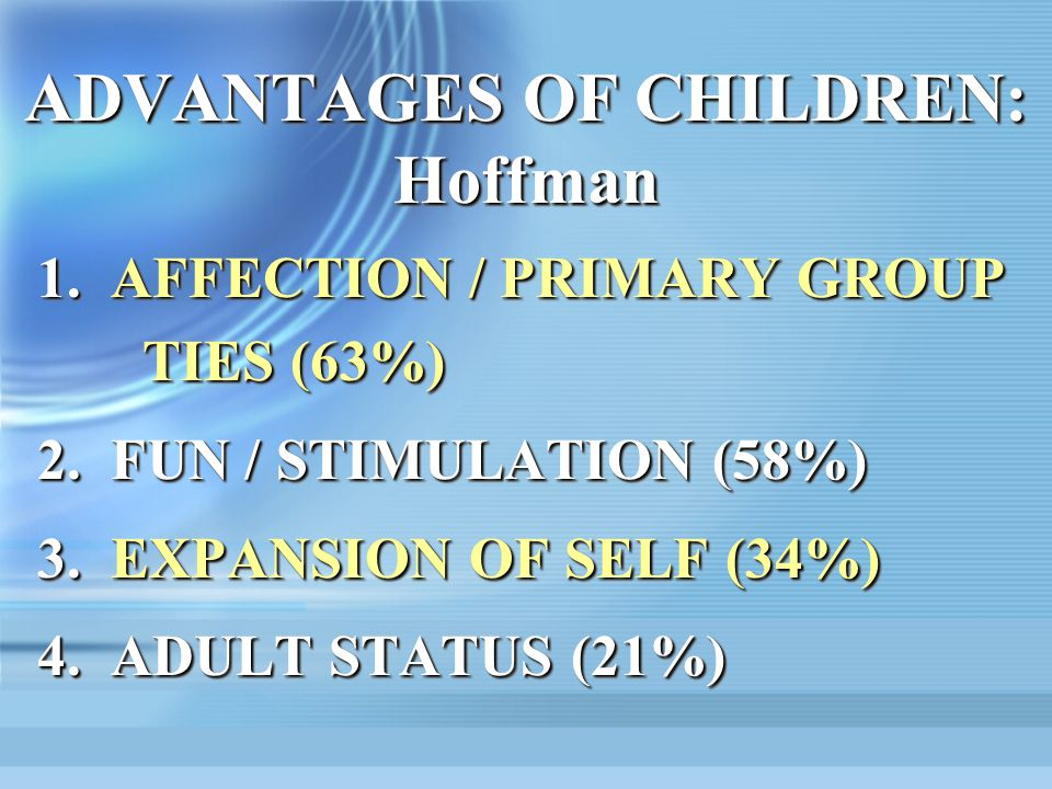 ADVANTAGES OF CHILDREN: Hoffman 1.AFFECTION / PRIMARY GROUP TIES (63%) 2.