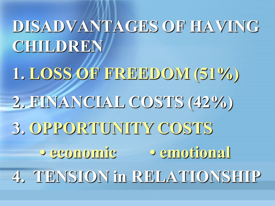 DISADVANTAGES OF HAVING CHILDREN 1.LOSS OF FREEDOM (51%) 2.