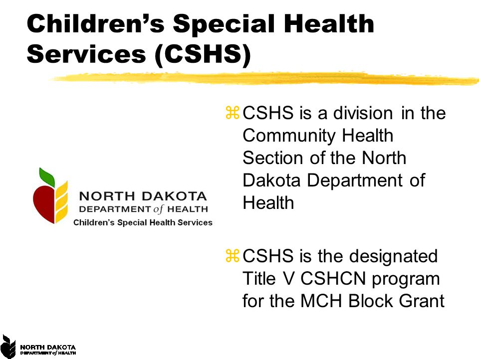 Children's Special Health Services (CSHS) zCSHS is a division in the Community Health Section of the North Dakota Department of Health zCSHS is the designated Title V CSHCN program for the MCH Block Grant