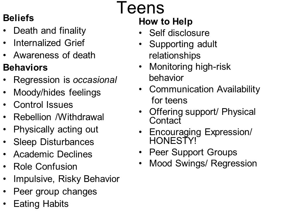 Teens Beliefs Death and finality Internalized Grief Awareness of death Behaviors Regression is occasional Moody/hides feelings Control Issues Rebellion /Withdrawal Physically acting out Sleep Disturbances Academic Declines Role Confusion Impulsive, Risky Behavior Peer group changes Eating Habits How to Help Self disclosure Supporting adult relationships Monitoring high-risk behavior Communication Availability for teens Offering support/ Physical Contact Encouraging Expression/ HONESTY.
