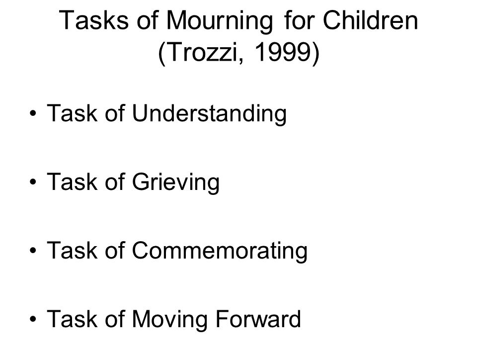 Tasks of Mourning for Children (Trozzi, 1999) Task of Understanding Task of Grieving Task of Commemorating Task of Moving Forward