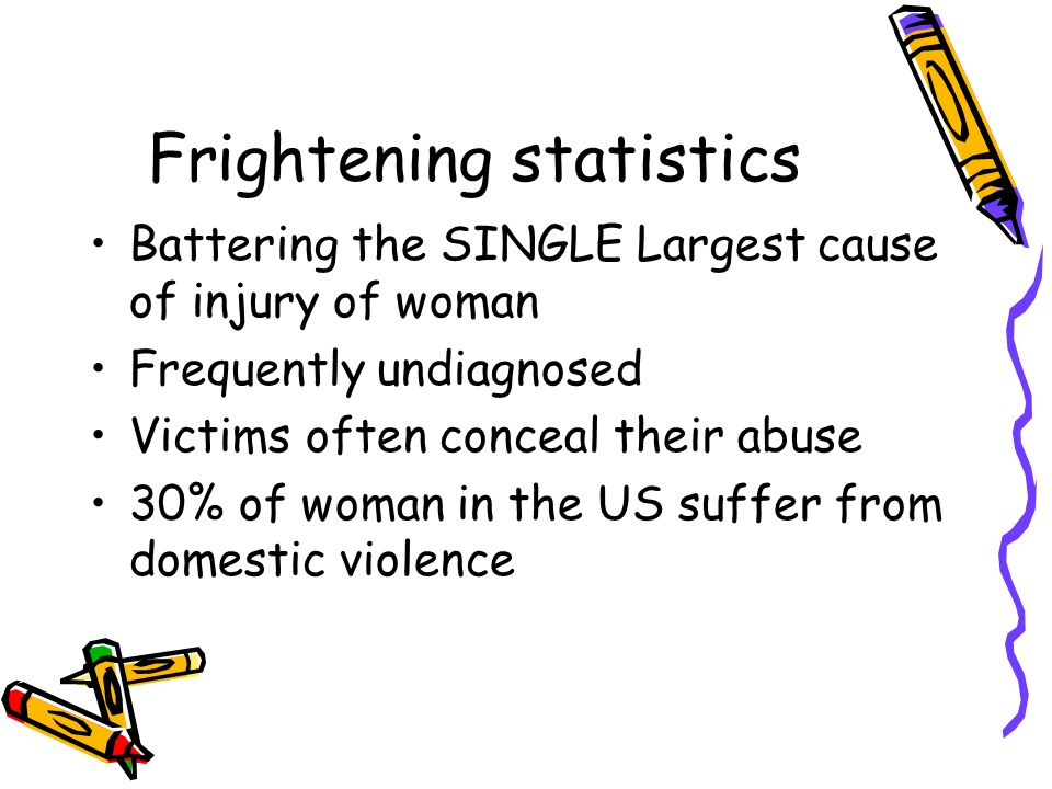 Frightening statistics Battering the SINGLE Largest cause of injury of woman Frequently undiagnosed Victims often conceal their abuse 30% of woman in the US suffer from domestic violence
