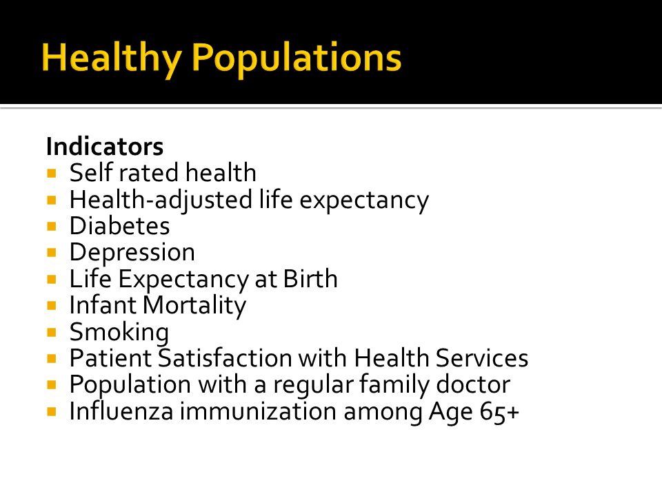 Indicators  Self rated health  Health-adjusted life expectancy  Diabetes  Depression  Life Expectancy at Birth  Infant Mortality  Smoking  Patient Satisfaction with Health Services  Population with a regular family doctor  Influenza immunization among Age 65+
