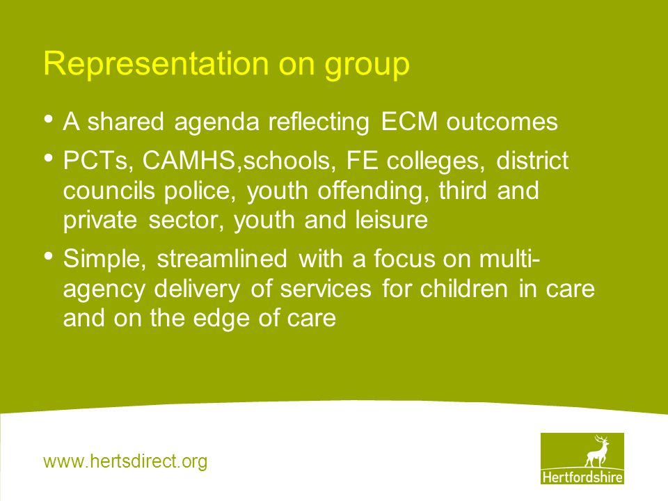 www.hertsdirect.org Representation on group A shared agenda reflecting ECM outcomes PCTs, CAMHS,schools, FE colleges, district councils police, youth offending, third and private sector, youth and leisure Simple, streamlined with a focus on multi- agency delivery of services for children in care and on the edge of care