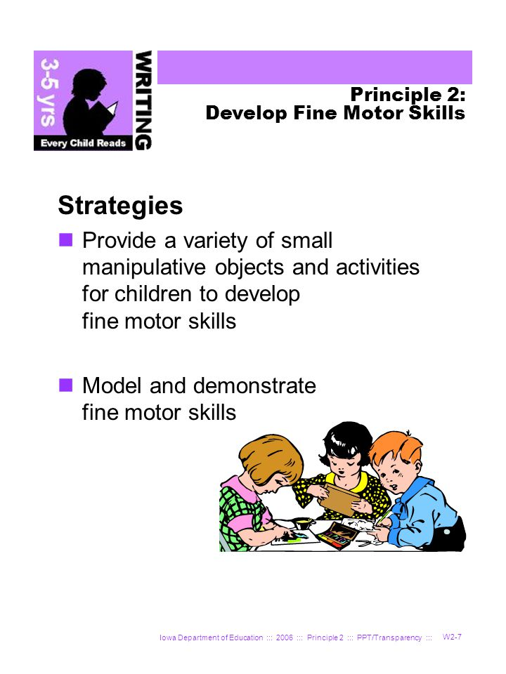 Iowa Department of Education ::: 2006 ::: Principle 2 ::: PPT/Transparency ::: W2-7 Strategies Provide a variety of small manipulative objects and activities for children to develop fine motor skills Model and demonstrate fine motor skills Principle 2: Develop Fine Motor Skills