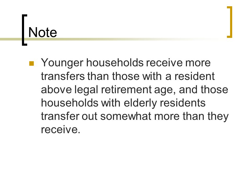 Note Younger households receive more transfers than those with a resident above legal retirement age, and those households with elderly residents tran