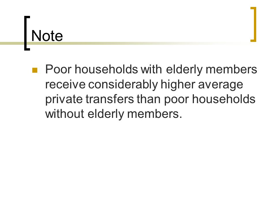Note Poor households with elderly members receive considerably higher average private transfers than poor households without elderly members.
