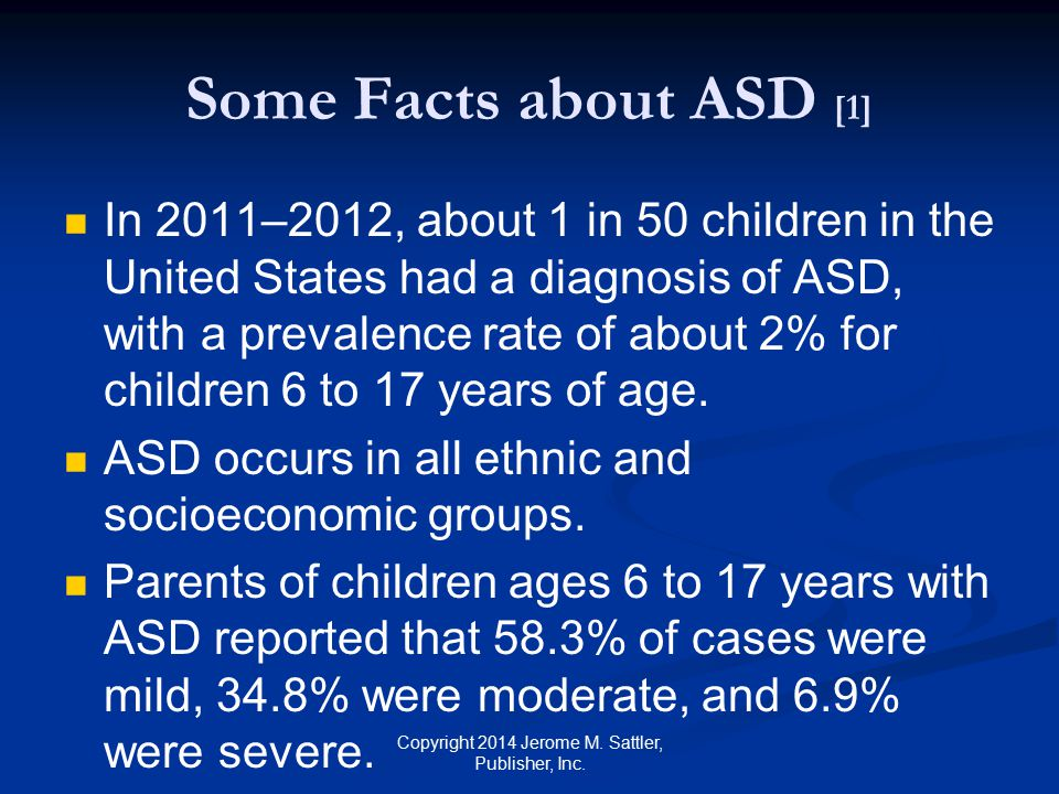 Some Facts about ASD [2] ASD is almost five times more common among boys (3.23%) than among girls (.70%).