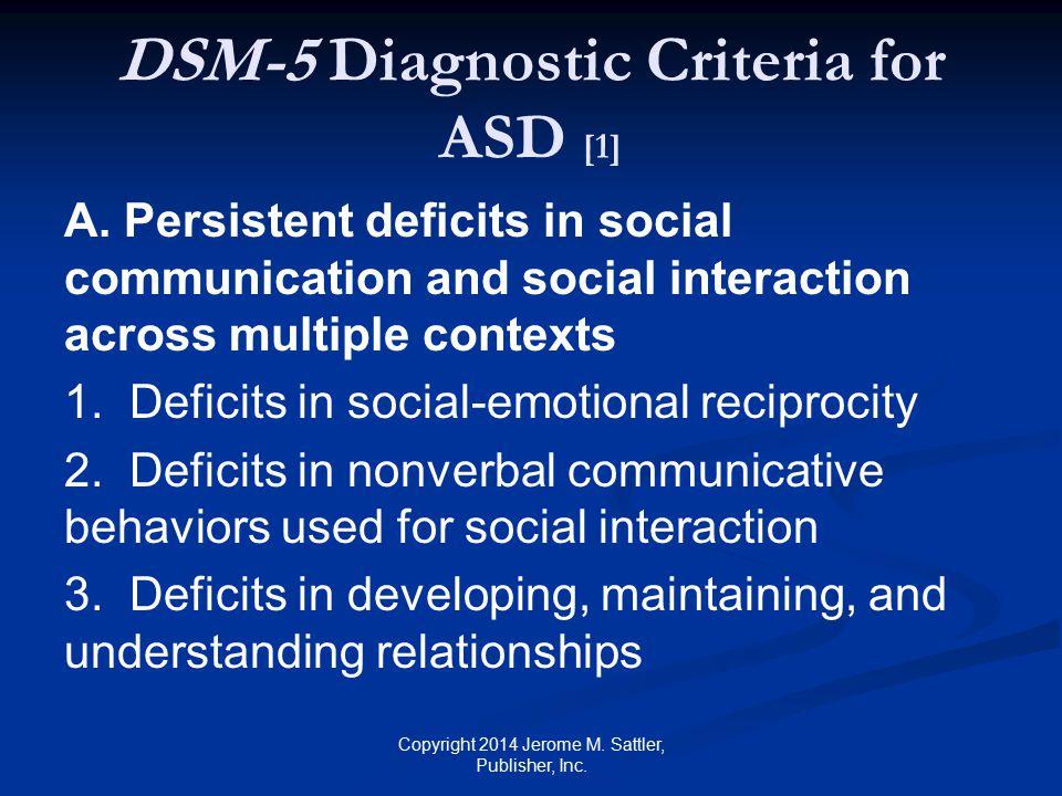 DSM-5 Diagnostic Criteria for ASD [2] B.