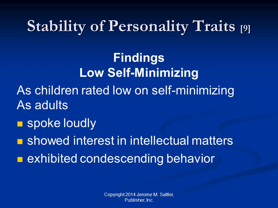 Stability of Personality Traits [10] Comment by Investigators ...