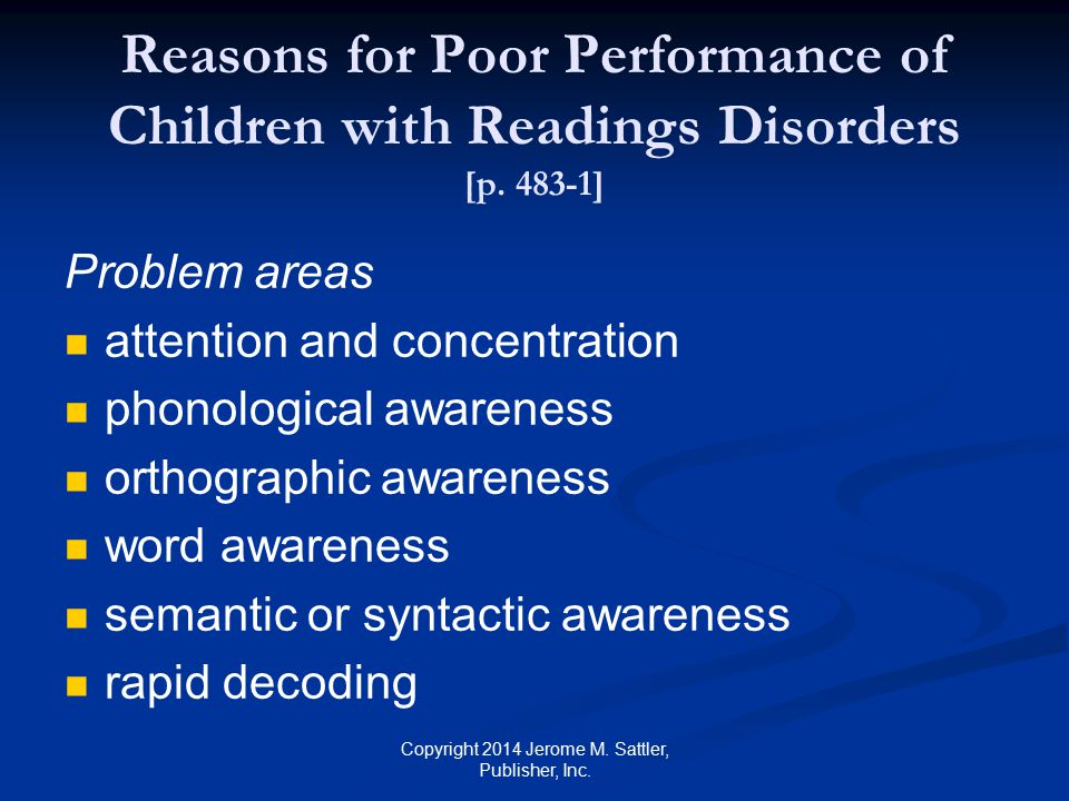Possible Reasons for Poor Performance With Children with Readings Disorders [p.