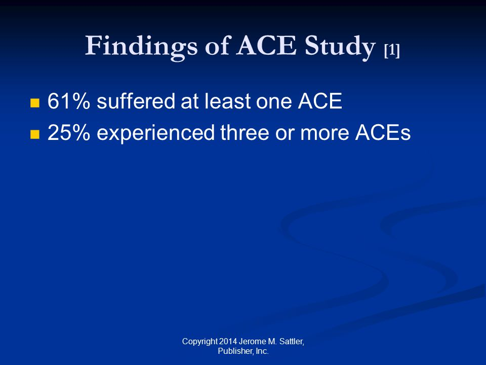 Findings of ACE Study [2] Adults who suffered from childhood trauma (compared to those who did not suffer) were 500% more likely to suffer from depression 350% more likely to smoke tobacco 90% more likely to engage in binge drinking 63% more likely to have a heart attack 60% more likely to be obese Copyright 2014 Jerome M.