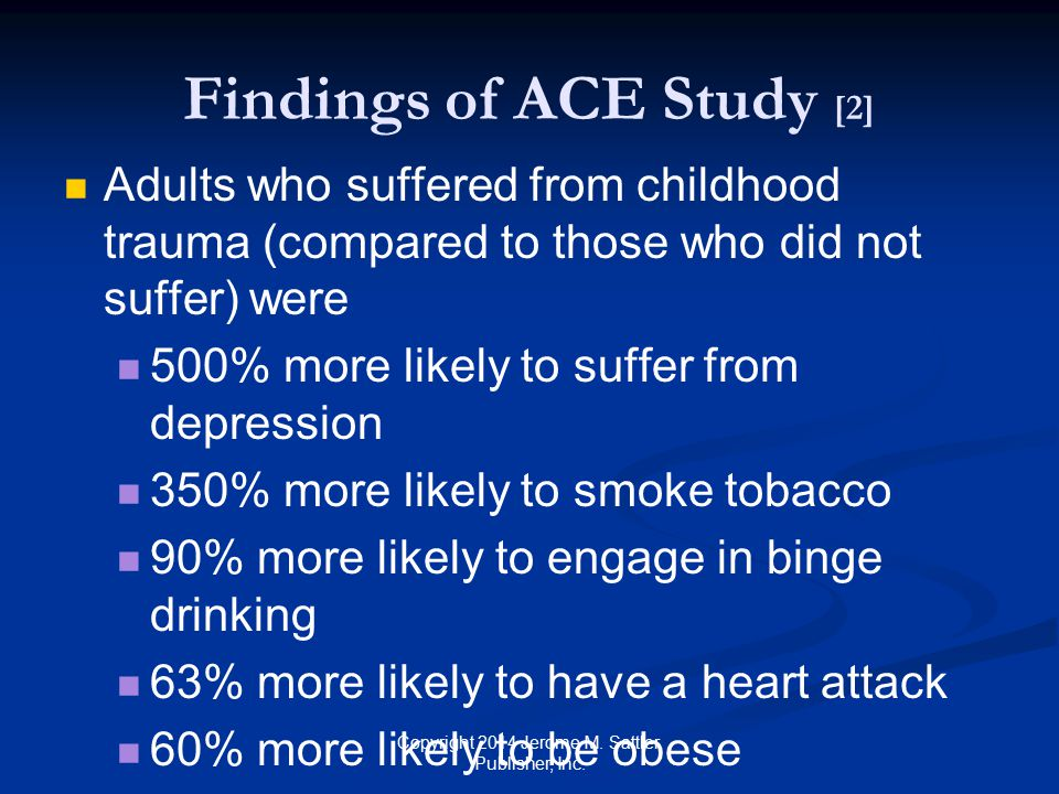 Findings of ACE Study [3] Negative effects associated with income level 52% of low-income adults exposed to four or more ACEs had serious psychological distress Fewer than 25% of high-income adults with same exposure levels had similar levels of psychological distress Copyright 2014 Jerome M.