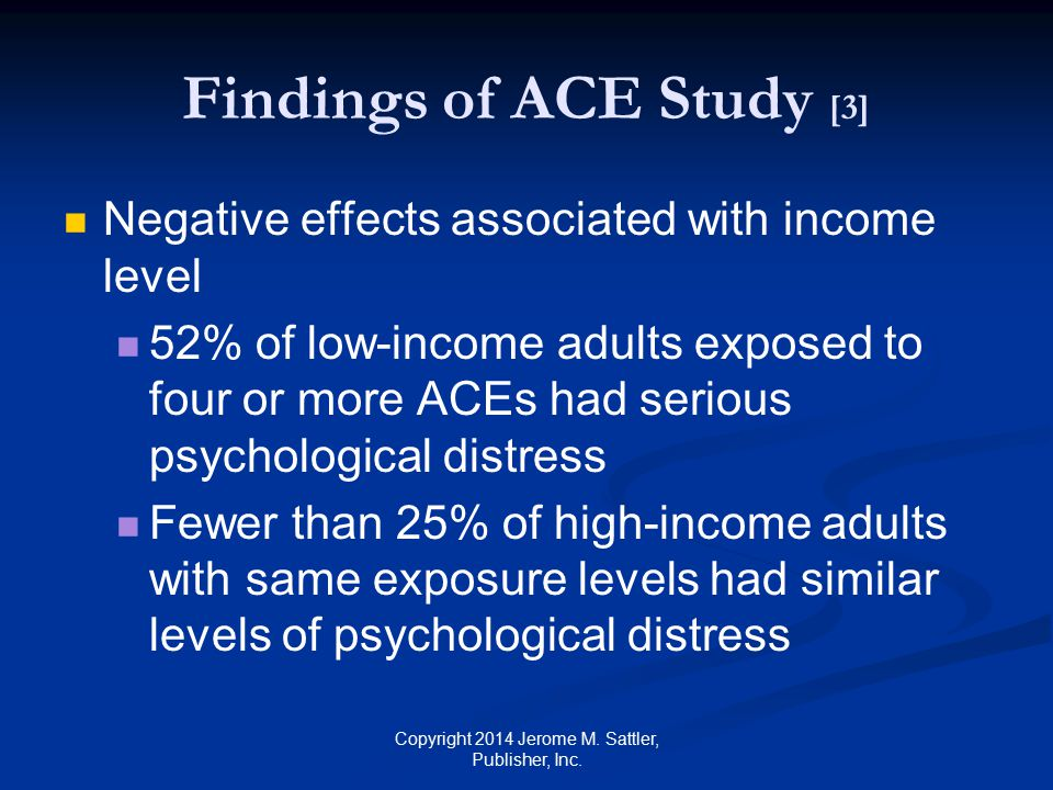 Findings of ACE Study [4] Source: Source: http://tcenews.calendow.org/releases/state -assembly-hearing:-childhood-trauma-is- common-and-can-be-devastatingbut- damage-can-be-overcome Copyright 2014 Jerome M.