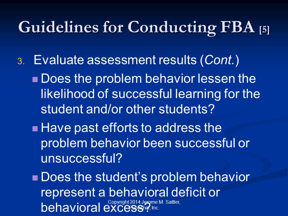 Guidelines for Conducting FBA [6] 3.3.