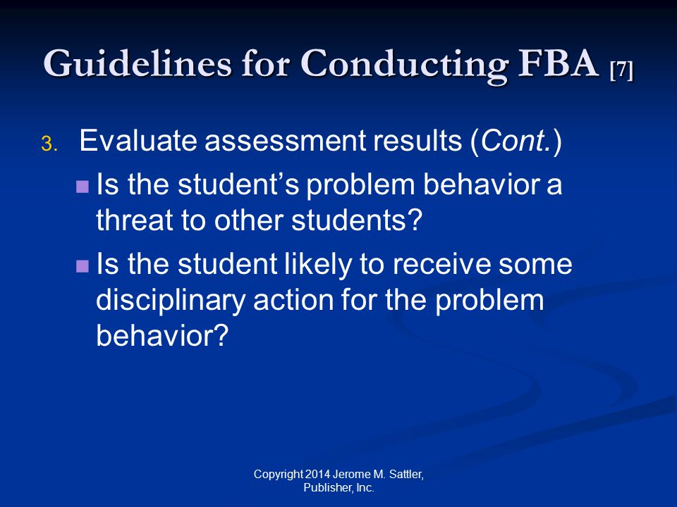 Guidelines for Conducting FBA [8] 4.4.