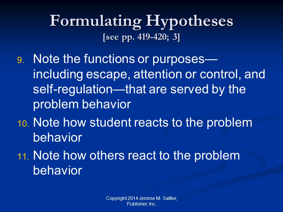 Formulating Hypotheses [see pp.419-420; 4] 12. 12.