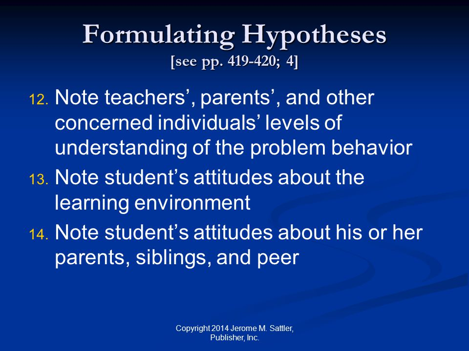 Formulating Hypotheses [see pp.419-420; 5] 15. 15.