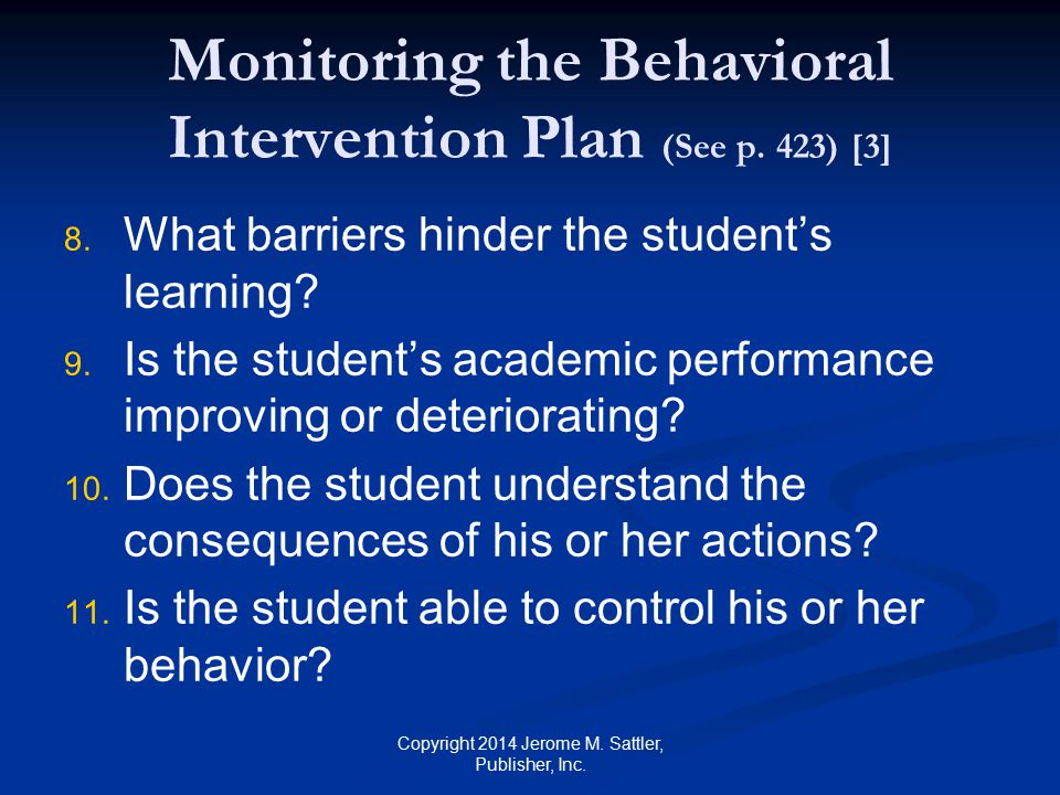 Monitoring the Behavioral Intervention Plan (See p.