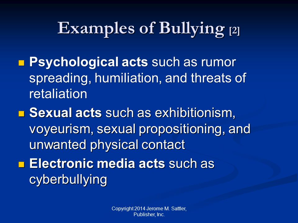 Overview Bullying and cyberbulling are insidious problems Occur on Playgrounds Schools Neighborhoods Parks Homes Workplaces Copyright 2014 Jerome M.