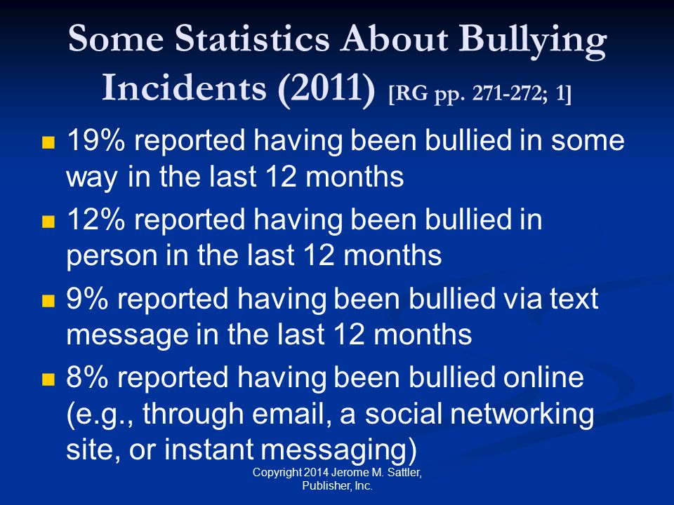 Some Statistics About Bullying Incidents (2011) [RG pp.
